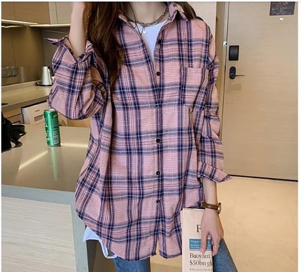 韓 襯衫 上衣 襯衣M-4XL中大尺碼韓版氣質長袖格子襯衫女寬鬆設計感上衣休閒襯衣3F055.6942 皇潮天下