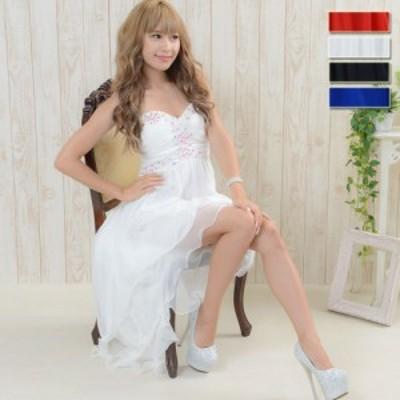 キャバドレス ドレスキャバ セクシー ロングドレス 【再入荷】テールカット 胸元ビジューテールカットシフォンロングドレス