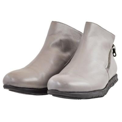 レディース 靴 ブーツ ユウコイマニシ 軽量 ダブルファスナー ペタンコ ブーティ 送料無料 グレー yuko786006GRY
