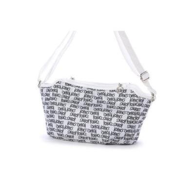 サボイ SAVOY ジャガード織・グラフィティロゴ柄のショルダーバッグ (ホワイト)