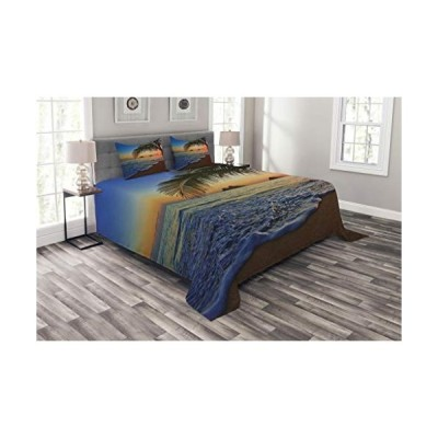 Ambesonne Hawaiian Bedspread, Pacific Sunrise at Lanikai Beach Hawaii Colorful Sky Wavy Ocean Surface Scene, Decorative Quilted 3 Piece Coverlet Set w