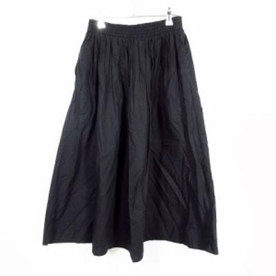 【中古】ザラウーマン ZARA WOMAN スカート フレア ロング 無地 XS 黒 ブラック /MO レディース