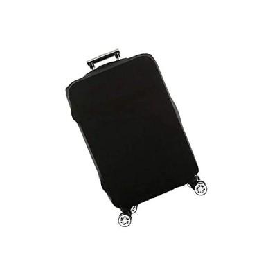 """Powanfity スーツケースカバー キャリーカバー ラゲッジカバー 無地伸縮素材 お荷物カバー 防塵カバー 着脱簡単24"""" 60*55cm黒"""