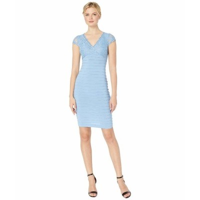 アドリアナ パペル ワンピース トップス レディース Lace Top Banded Sheath Dress Rio Blue