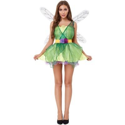ハロウィン 緑色の森林妖精 蜻蛉服 ウーマン マスカレード コスプレ