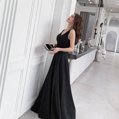 花嫁ドレス 編み上げ ウェディング  パーディードレス Aライン ワンピース Vネック ノースリーブ ロングドレス レディース 発表会 二次会 披露宴 結婚式 ドレス