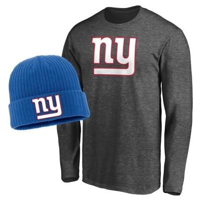 ニューヨーク・ジャイアンツ Fanatics Branded Long Sleeve T-シャツ & Cuffed ニットキャップ Combo Set - Heathered Gray/Royal