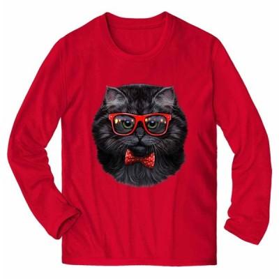 【アメリカンショートヘア ねこ 蝶ネクタイ サングラス】メンズ 長袖 Tシャツ by Fox Republic