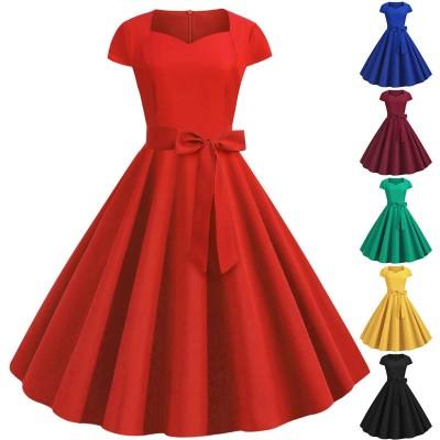 スイングワンピース レトロ 50年代 ビンテージ ベルト付き レディーズ ドレス