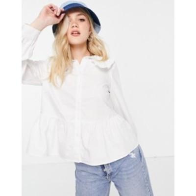 ニュールック レディース シャツ トップス New Look plain collar detail shirt in white White