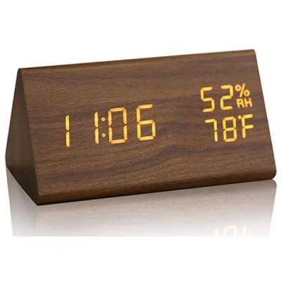 目覚まし時計 置き時計 デジタル アラーム 木製 Brown