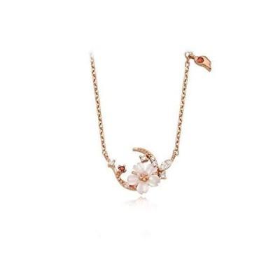 Angie 「ロマンチックな月桜」 ネックレス 桜ネックレス ピンク レディース 首飾り ジュエリー シルバー925 5Aジルコニア 天然貝