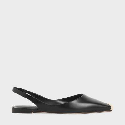 エスパドリーユチップスリングバックフラット / Espadrille Tip Slingback Flats (Black)