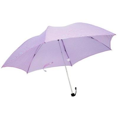 スリム 三つ折り傘 ボーダー ピンク