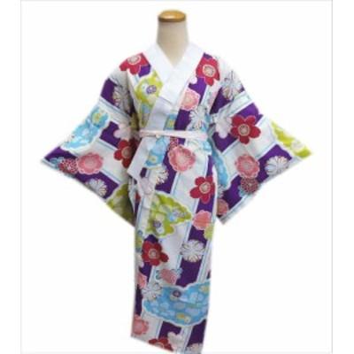 長襦袢 長地袢 柄 お仕立上がり 紫白ライン梅桜菊雲 S M L 着物 和装 下着 女性用
