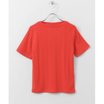tシャツ Tシャツ ランダムテレコボートネックTシャツ(半袖)∴