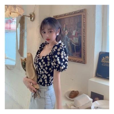 シャツ 花柄 ショート 夏 かわいい きれいめ スクエアネック バックコンシャス リボン 黒 バブルスリープ