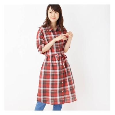 【シューラルー/SHOO・LA・RUE】 綿チェックシャツワンピース
