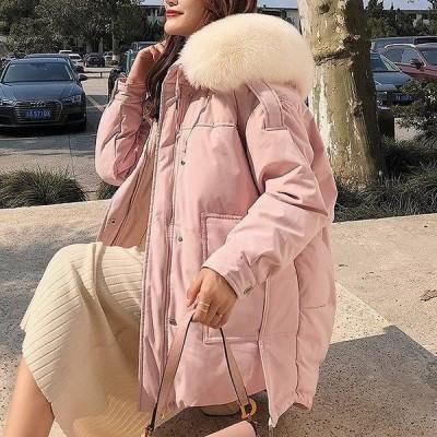 ダウンコート レディース ダウンジャケット ショートダウン 秋冬アウター フード付き 暖かい ファー コート 無地 シンプル デート おしゃれ 大人 可愛い