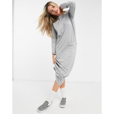 エイソス ASOS DESIGN レディース ワンピース ポケット Tシャツワンピース Asos Design Maxi Long Sleeve T-Shirt Dress With Pocket Detail In Grey Marl