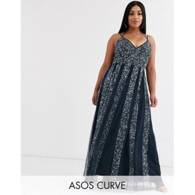 エイソス レディース ワンピース トップス ASOS DESIGN Curve cami strap maxi dress in mesh with embellished sequin godet panels