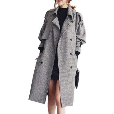 コート ロング レディース ジャケット チェック トレンチコート 秋冬 防寒 大きいサイズ(s2012250117)