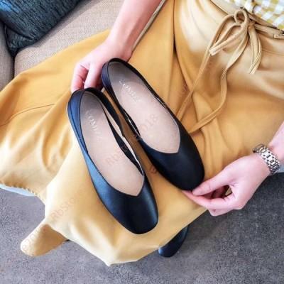 ぺたんこ フラットシューズ 美脚 ローヒール リボン フラット 大きいサイズ 小さいサイズ スクエアトゥ Vカット ローヒール パンプス レディース 革靴