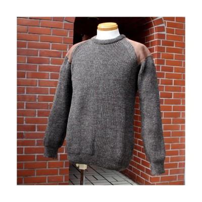 セーター メンズ パッチ ニット 羊毛 ウール 英国製 Cedar セダー パッチセーター 3色からお選びびいただけます。