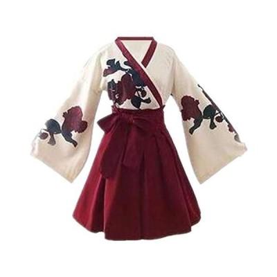 矢羽柄 和式 プリント 改良 着物 和服 上下セット 日本式 ふわふわな彼女 羽織 上着 アンド プリーツスカート 浴衣
