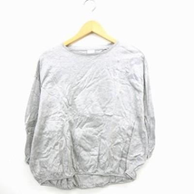 【中古】ビュルデサボン bulle de savon Tシャツ カットソー 無地 シンプル 丸首 長袖 コットン 綿 F グレー /MT16