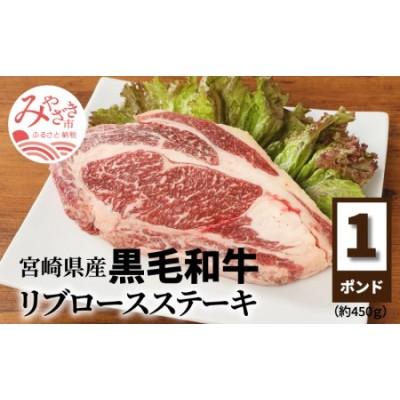 宮崎県産 リブロースステーキ 黒毛和牛 450g 国産 ステーキ用 1ポンド