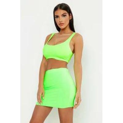 Boohoo レディーススカート Boohoo Double Layer Slinky Neon Mini Skirt neon-green