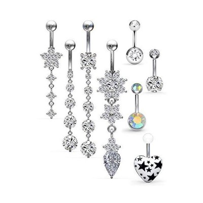 Ftovosyo 14G Surgical Steel Dangle Belly Button Rings for Women Heart Navel