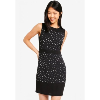 ザローラ ZALORA BASICS レディース ワンピース ワンピース・ドレス Basic Sleeveless Colourblock Dress Black Polka Dots