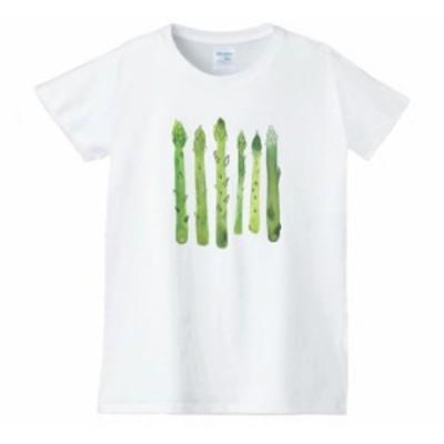 アスパラガス レディース 食べ物 野菜 スイーツ Tシャツ 白