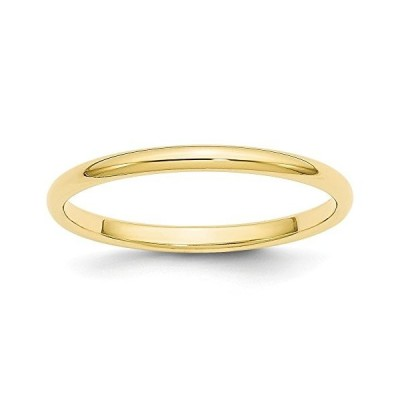 10K Yellow Gold Wedding Band Ring Standard Half Round Solid Polished 2
