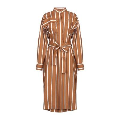 エリカ カヴァリーニ ERIKA CAVALLINI 7分丈ワンピース・ドレス ブラウン 42 コットン 100% 7分丈ワンピース・ドレス