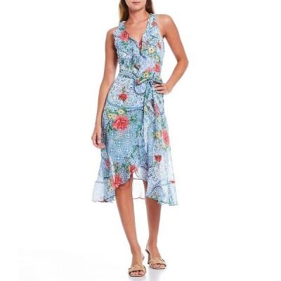 ケンジー レディース ワンピース トップス Floral Printed Chiffon Tie Waist Faux Wrap Hi-Low Dress White/Blue