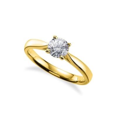指輪 18金 イエローゴールド 天然石 一粒リング 主石の直径約3.8mm ソリティア 四本爪留め K18YG 18k 貴金属 ジュエリー レディース メンズ