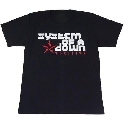 System of a Down/システム・オブ・ア・ダウン バンドロゴ プリントTシャツ ブラック 男女兼用