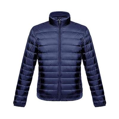 ダウンジャケット メンズ 軽量 暖かい ウルトラライト ダウン コート コンパクト収納 おしゃれ ライト 防風 防寒 撥水 収納袋付き 立ち襟 ネイビ