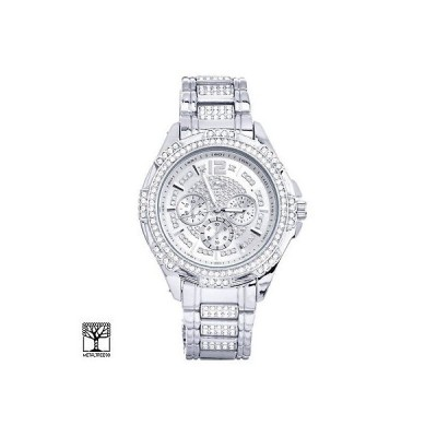 腕時計 テクノ パブ Men's Bling Iced Out CZ Silver Plated Metal Band Watches WM 8252 S
