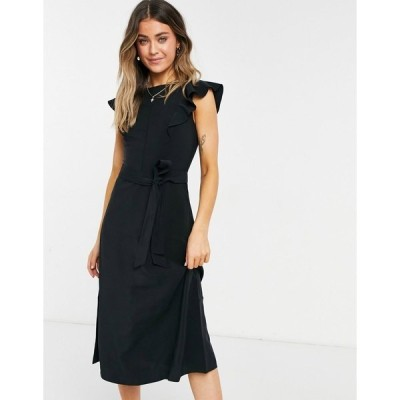 オアシス レディース ワンピース トップス Oasis ruffle sleeve midi dress in black Black
