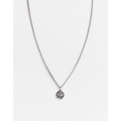 アイコンブランド メンズ ネックレス・チョーカー アクセサリー Icon Brand round pendant necklace in silver Silver