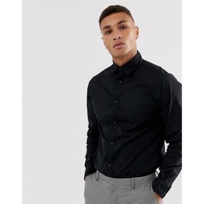 ジャック アンド ジョーンズ メンズ シャツ トップス Jack & Jones regular fit stretch poplin shirt in black