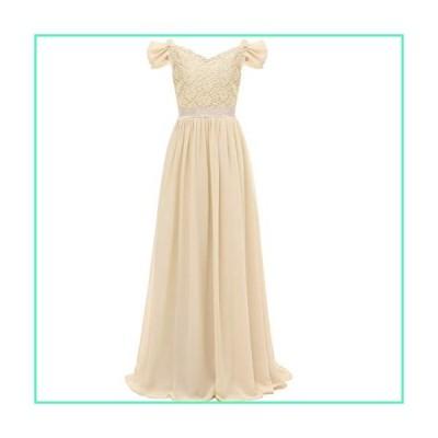 SSPbridal A-Line Off-Shoulder Chiffon Junior Bridesmaid Dresses Long Flower Girl Gown with Belt J14 Champagne並行輸入品