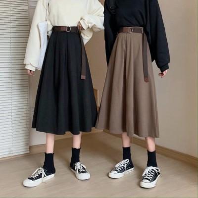ボトムス スカート ロング丈 ベルト付 Aライン ガーリー レトロ きれいめ カジュアル 大人可愛い 韓国ファッション