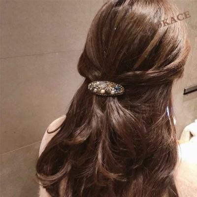 バレッタ 髪飾り 髪留め ヘアクリップ パール ビジュー エスニック キラキラ 夏 白 黒 韓国ファッション