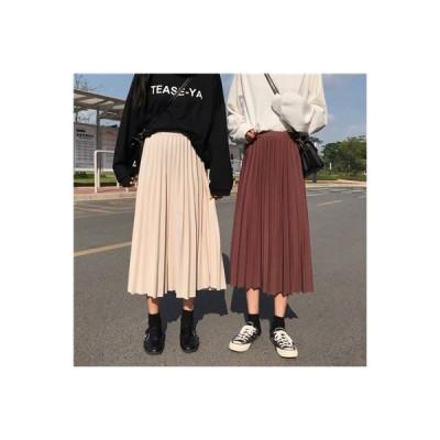 3色 レディース 大きいサイズ Aライン マキシ丈  ロングスカート    ウエストゴム  無地 学院風スカート春夏プリーツスカート