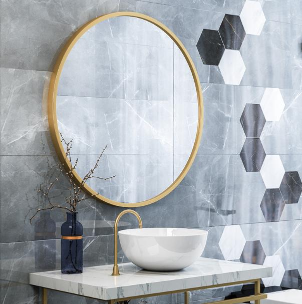 鏡子 圓鏡 40cm 壁掛鏡 北歐免打孔浴室圓鏡衛生間洗手間掛墻鏡子黃銅色浴室鏡壁掛衛浴鏡
